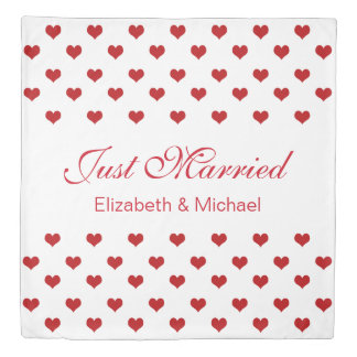 Red Hearts Pattern Personalized Names Wedding Duvet Cover