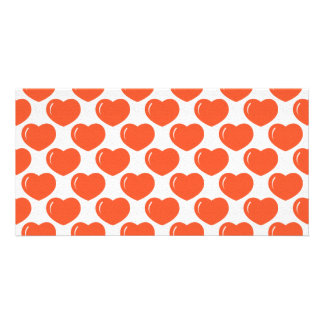 Red hearts pattern photo cards