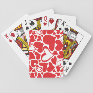 Red hearts pattern playing cards