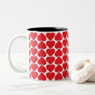 Red Hearts pattern Two-Tone Coffee Mug