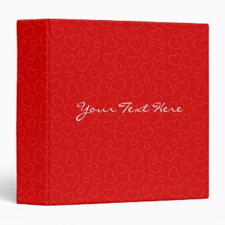 Red Hearts Pattern Vinyl Binder