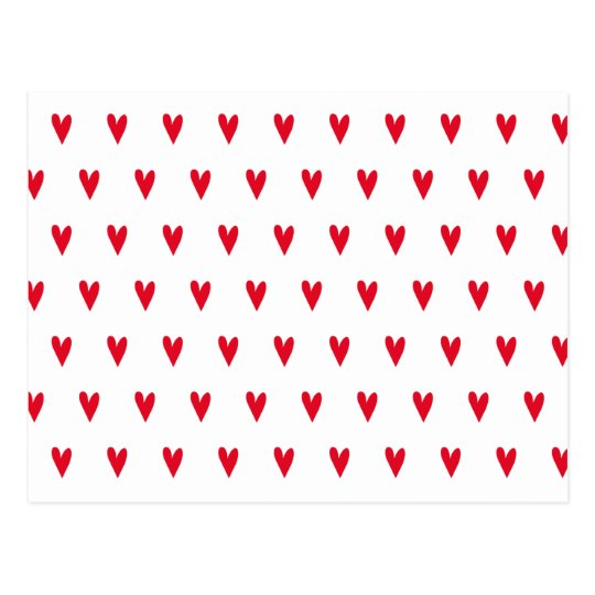Red Hearts Patterns Valentine's Day Postcard