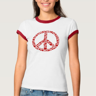 Red Hearts Peace Sign T-Shirt
