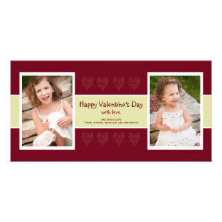 Red Hearts photo valentine card Photo Greeting Card