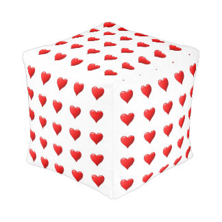 Red Hearts Pouf