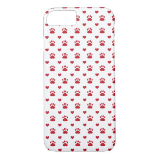 Red Hearts & Red Pawprint Pattern iPhone 7 Case