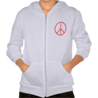 Red Hearts Round Peace Sign Hooded Pullovers