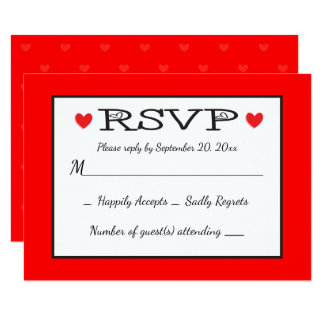 """Red Hearts RSVP Wedding / Party - Black, White Red 3.5"""" X 5"""" Invitation Card"""