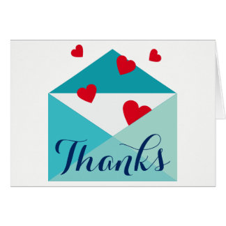 Red Hearts Sending Love Thank You Card