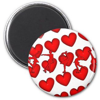 Red Hearts & Skaters Magnet