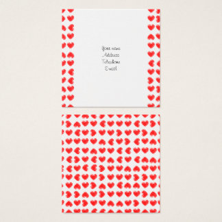 Red hearts square business card