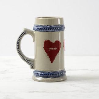 Red hearts stein for Valentine's day 18 Oz Beer Stein