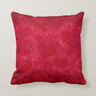 """Red Hearts"" Throw Pillow"