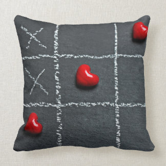 Red Hearts Tic-Tac-Toe | Decorative Throw Pillow