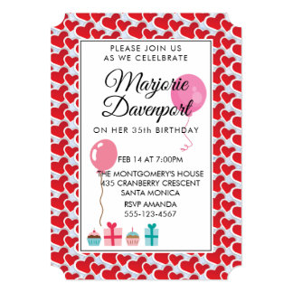 Red hearts Valentine Birthday Party Card