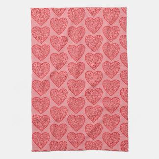 Red Hearts Valentine Kitchen Towel