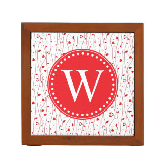 Red hearts vines desk organizer