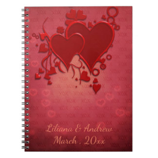 Red Hearts Wedding Guestbook Notebook