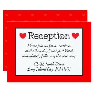 "Red Hearts Wedding Reception - Black, White, Red 3.5"" X 5"" Invitation Card"