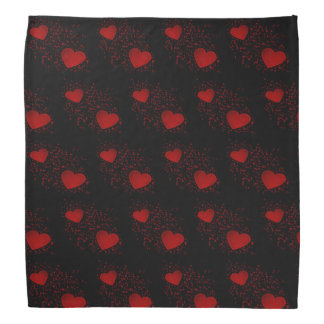 Red Hearts with Sparkles and Dots Bandana