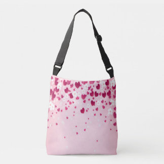 red hearts with white floral crossbody bag