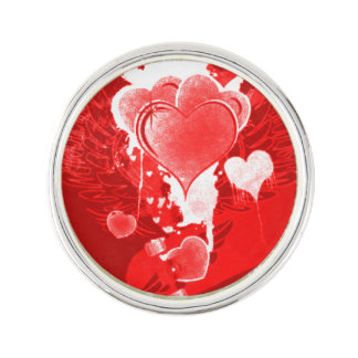 Red Hearts With Wings Lapel Pin