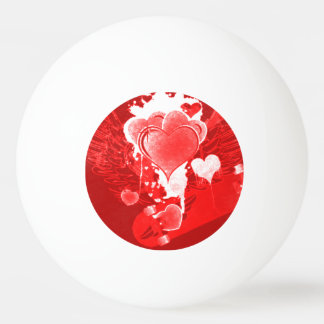 Red Hearts With Wings Ping Pong Ball
