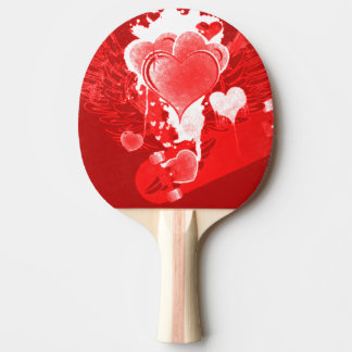 Red Hearts With Wings Ping Pong Paddle
