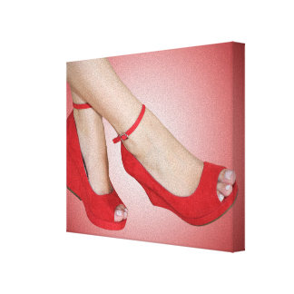 Red Heels Spotlight Stretched Canvas Print