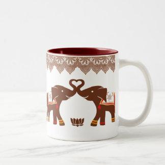Red Henna Elephant Love Mug