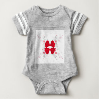 Red henna tattoo ethno on white baby bodysuit