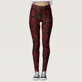 Red Henna Yoga Pattern Leggings