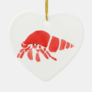 Red Hermit Crab Ceramic Heart Ornament