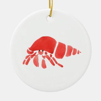 Red Hermit Crab Round Ceramic Ornament