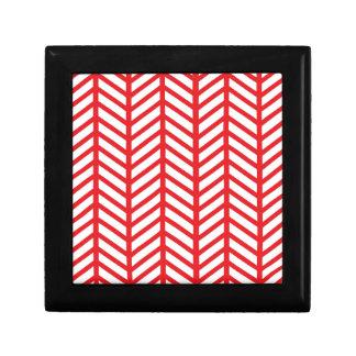 Red Herringbone Gift Box