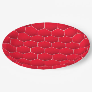 Red hexagon 9 inch paper plate