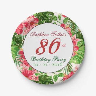 Red Hibiscus 80th Birthday Party Paper Plate 7 Inch Paper Plate