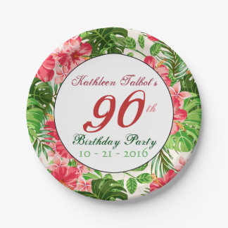 Red Hibiscus 90th Birthday Party Paper Plate 7 Inch Paper Plate