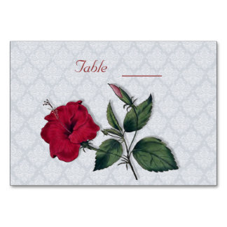 Red Hibiscus and white lace, light blue background Table Card