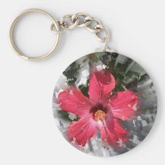 Red Hibiscus Basic Round Button Keychain