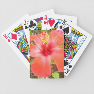 Red Hibiscus Bicycle Playing Cards