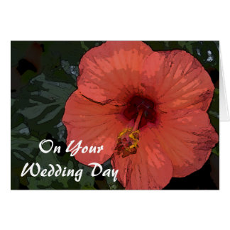 Red Hibiscus Blended Family Wedding Card