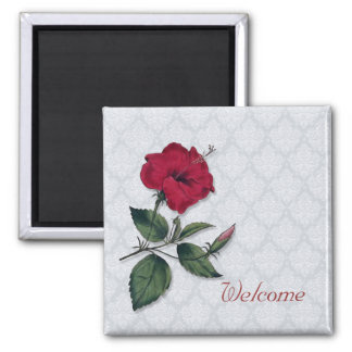 Red Hibiscus Blossom Square Magnet
