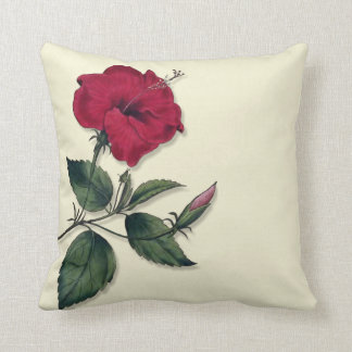Red Hibiscus Blossom Throw Pillow