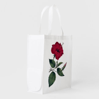 Red Hibiscus Botanical Print Reusable Grocery Bag