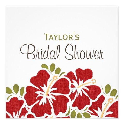 Red Hibiscus Bridal Shower Invitations