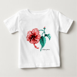 Red Hibiscus Drawing Baby T-Shirt