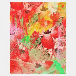 Red Hibiscus Fleece Blanket, Large