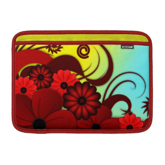 Red Hibiscus Floral 11 Inch Macbook Air Sleeve - H