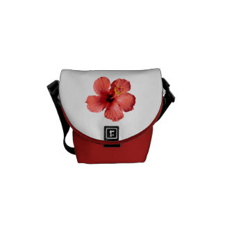 Red Hibiscus Flower Commuter Bags